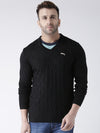 Men Black self Design Pullover - JUMP USA