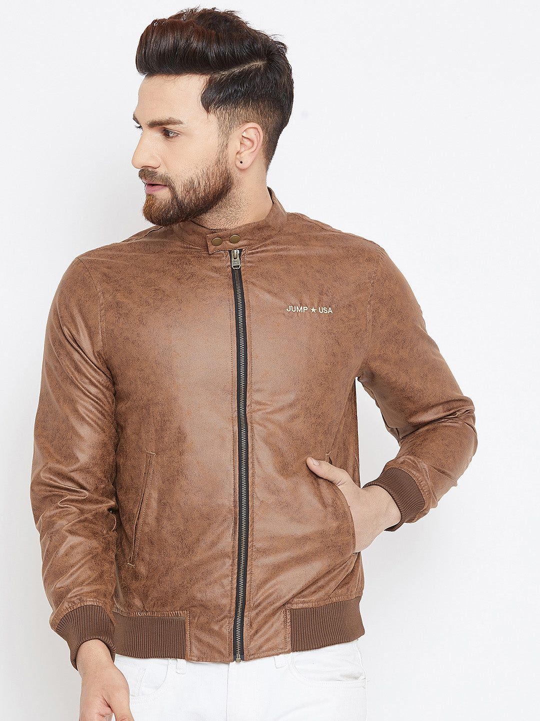 Men Tan Casual Solid Bomber Jacket - JUMP USA