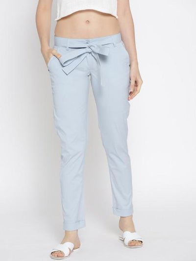 Women Solid Cropped Trousers - JUMP USA