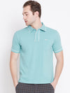 JUMP USA Men Blue Solid Casual Polo T-shirts_1
