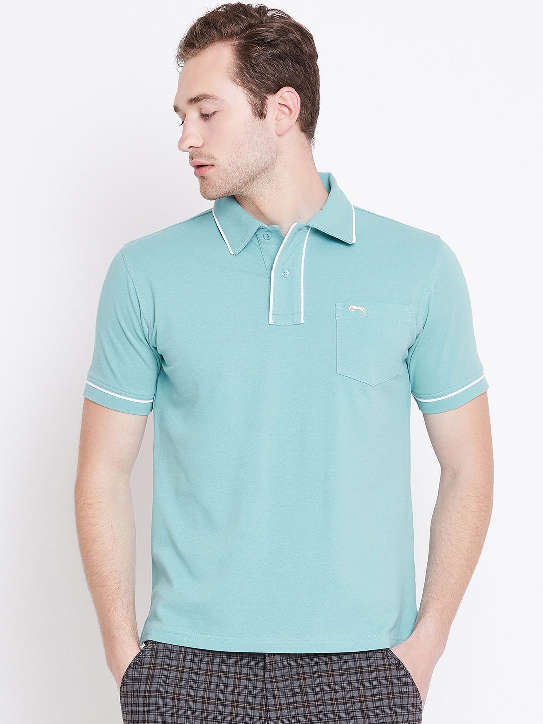 Men Blue Solid Casual Polo T-shirts
