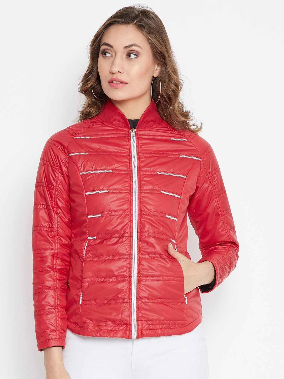 JUMP USA Women Red Solid Padded Jacket - JUMP USA