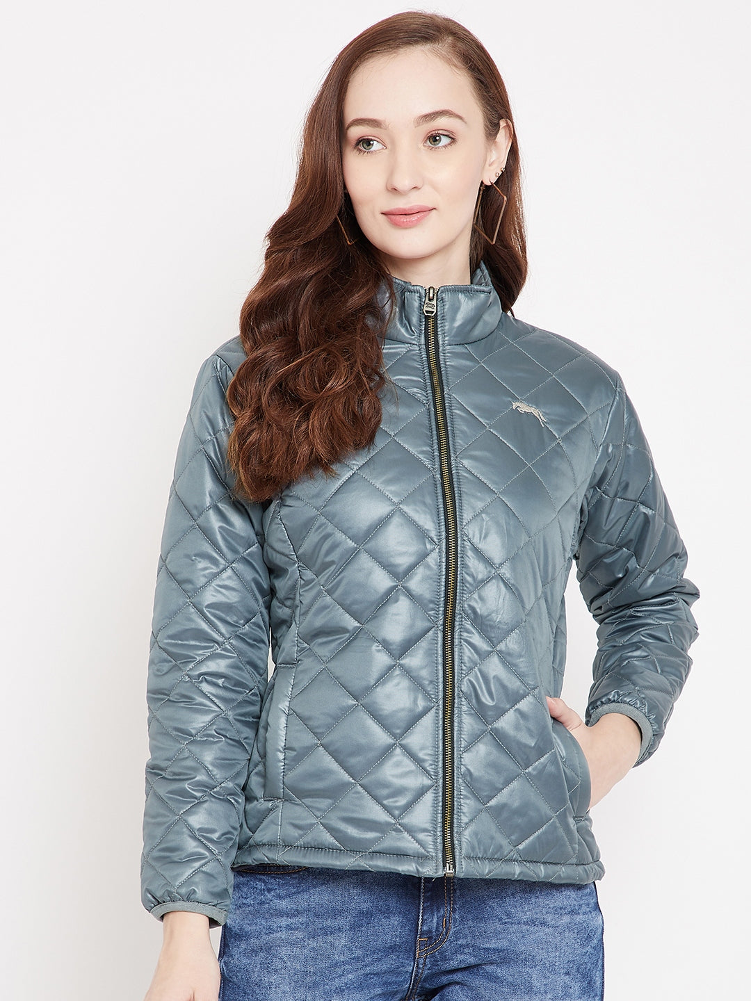 JUMP USA Women Grey Quilted Jackets