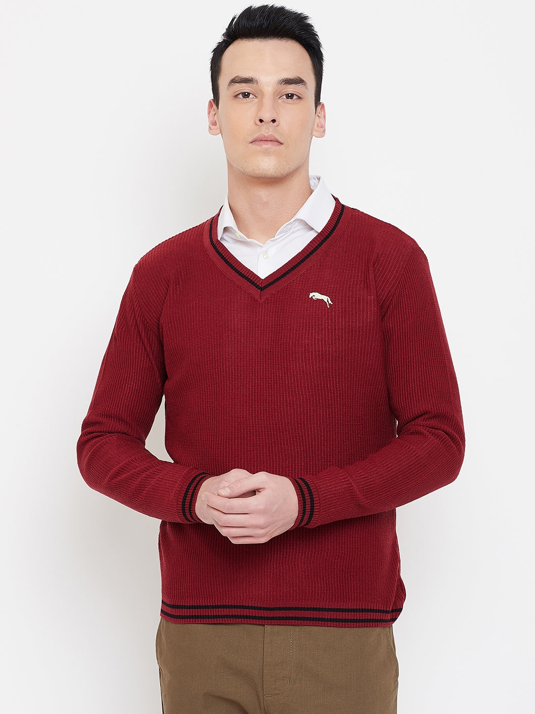 JUMP USA Men Red Solid Sweater