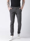 Men Charcoal Slim Fit Checked Chinos - JUMP USA