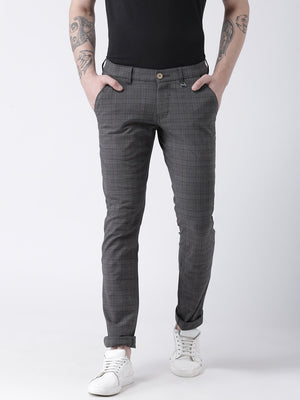 JUMP USA Men Charcoal Slim Fit Checked Chinos - Jump USA