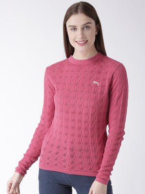 Women Cotton Casual Long Sleeve  Pink Winter Sweaters - Jump USA