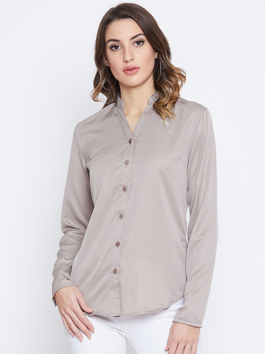 JUMP USA Women Beige Solid Casual Shirts - JUMP USA