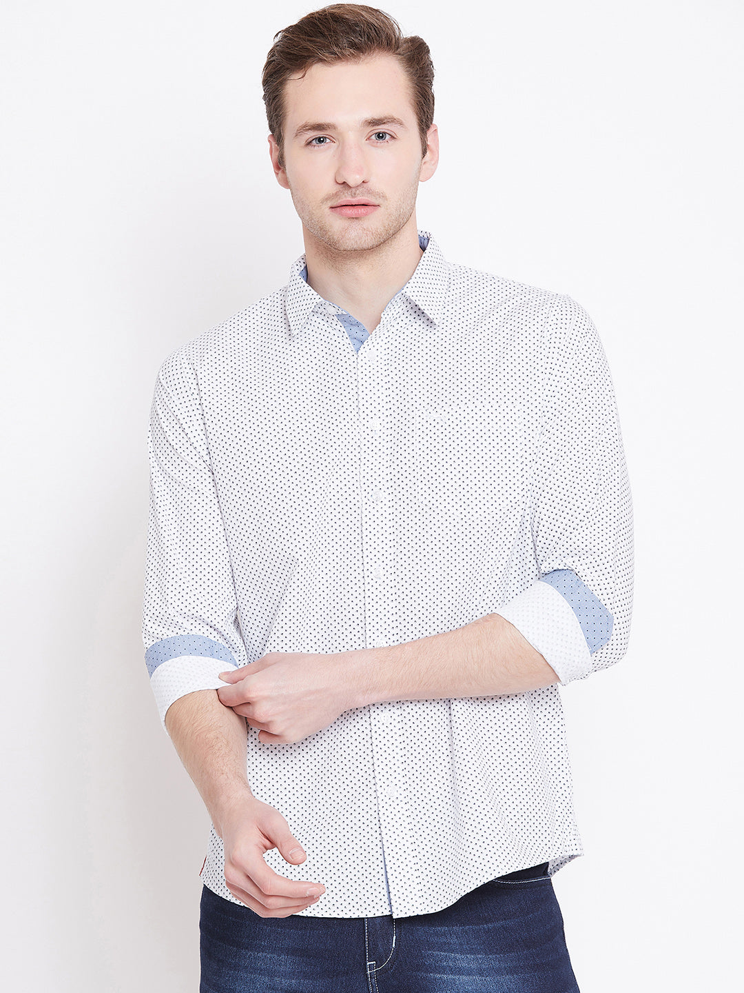 Men White Printed Casual Relaxed Fit Shirts