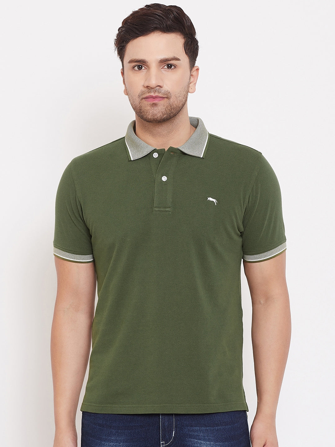 JUMP USA Men Solid Olive Polo T-shirt