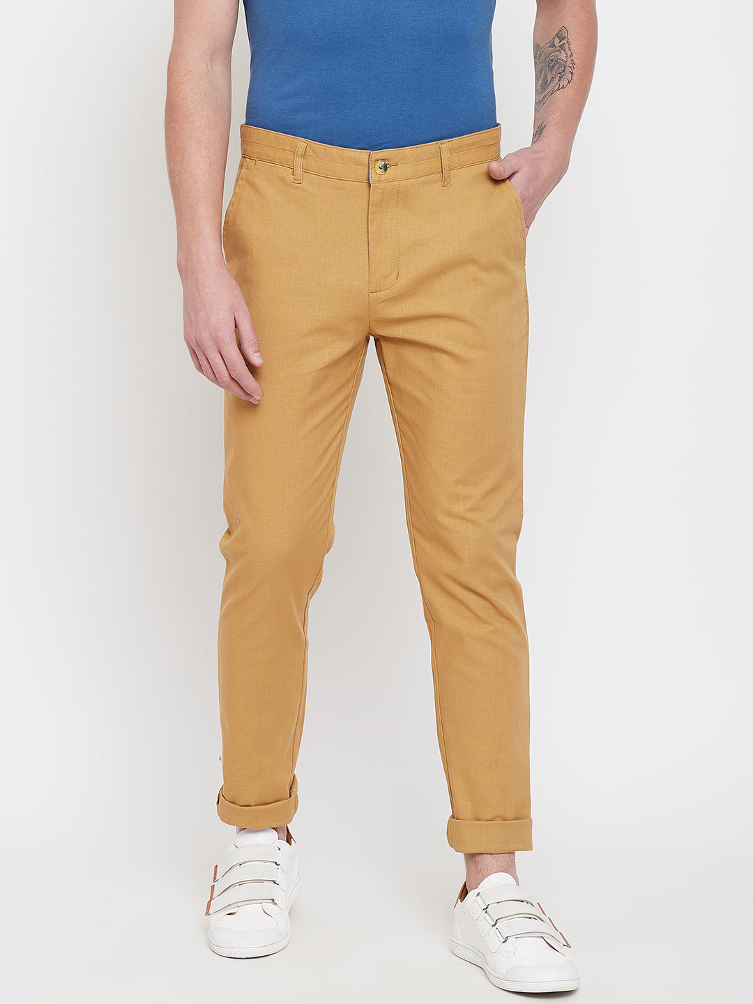 JUMP USA Men Beige Casual Slim Fit Trousers - JUMP USA