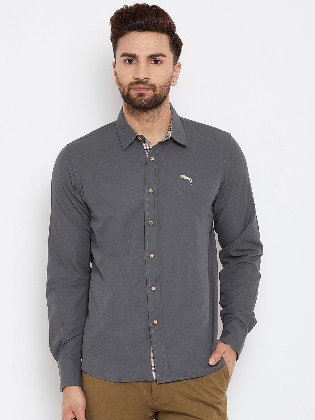 JUMP USA Men Grey Regular Fit Solid Casual Shirt