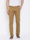 JUMP USA Men Khaki Regular Fit Solid Trousers - JUMP USA