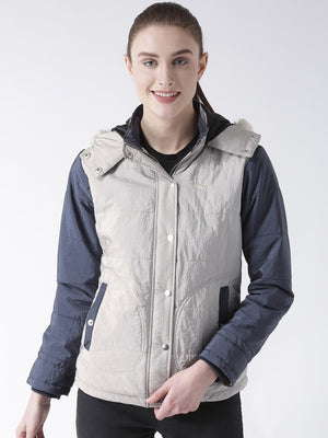 Women 's Polyster Casual Long Sleeve  Grey Winter Jacket