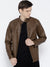 Men Brown Solid Jacket