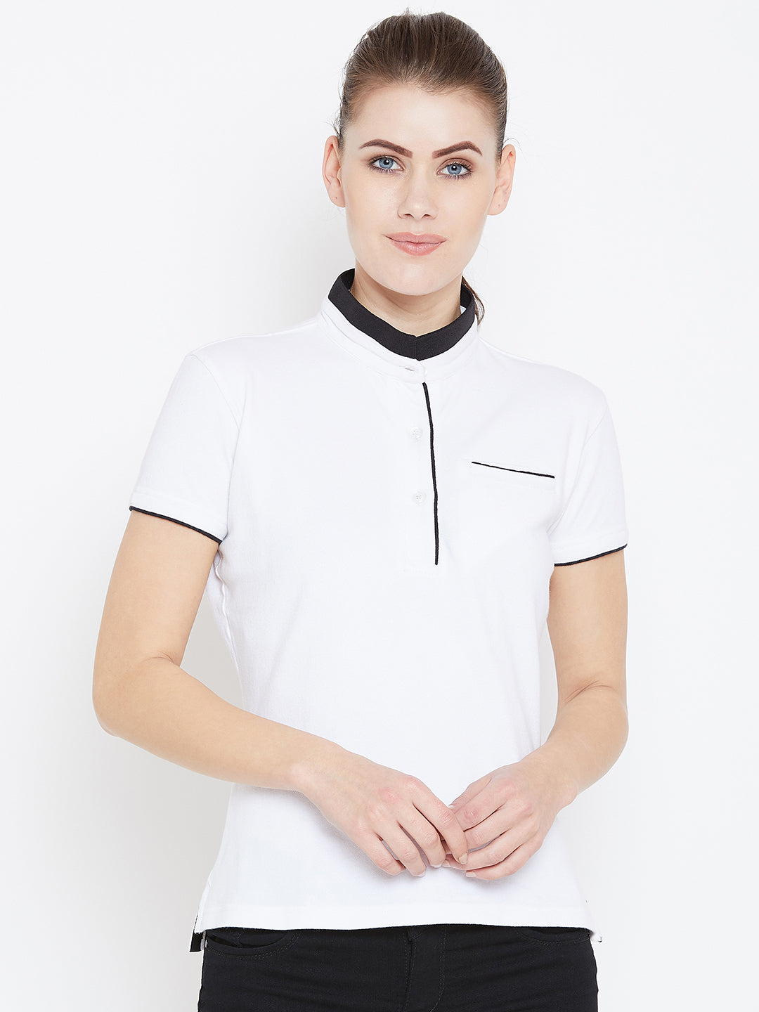 Women White Solid Casual Polo T-shirts