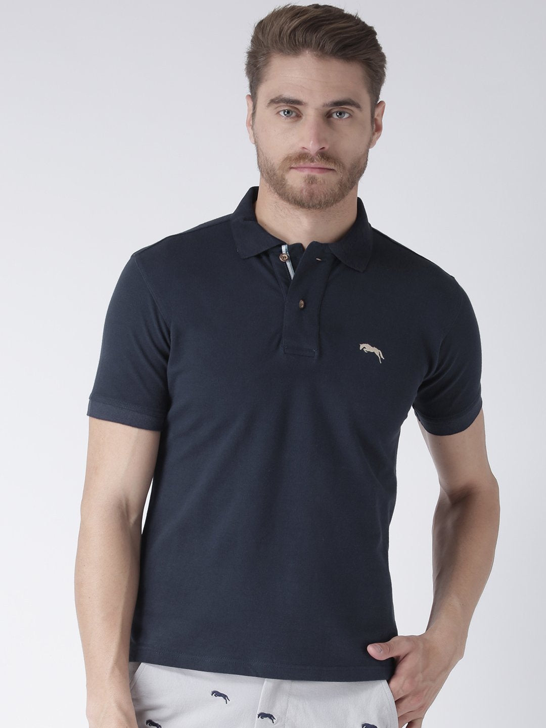 Men Plain Short Sleeve Polo T-Shirt