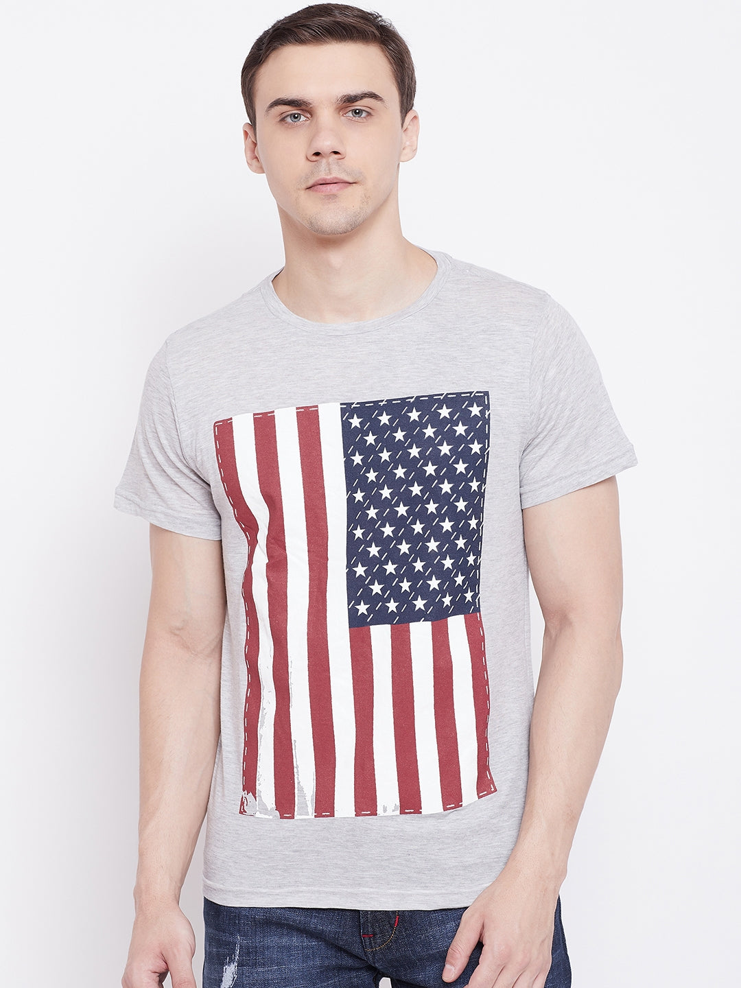 JUMP USA Men Grey Round Neck T-Shirt