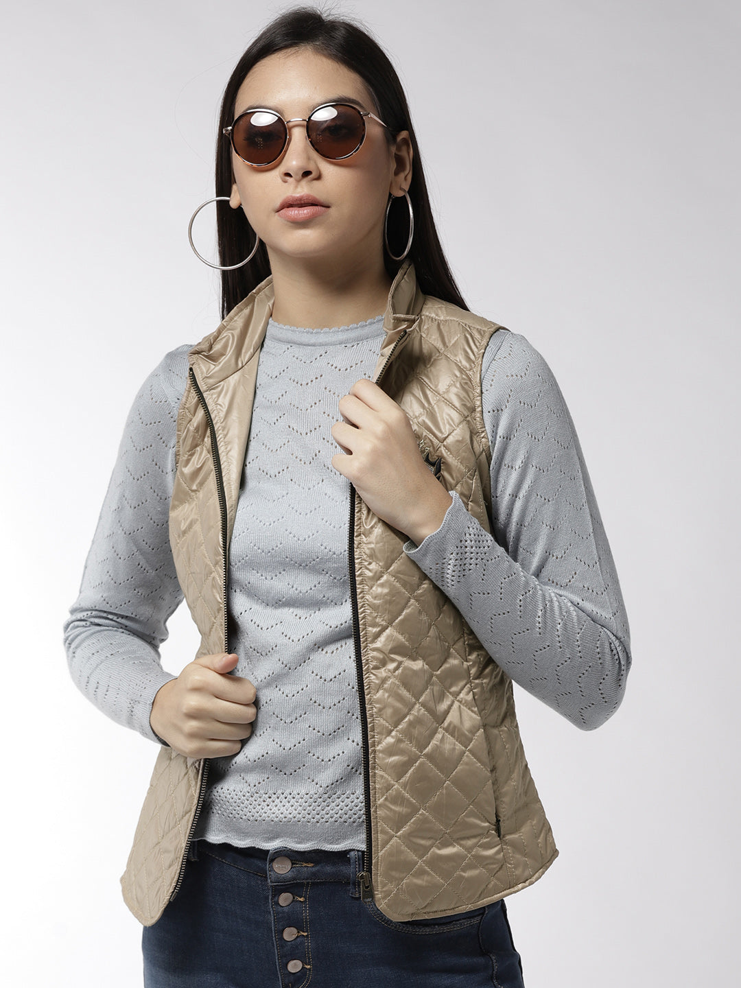 Women Sleeveless Beige Jacket