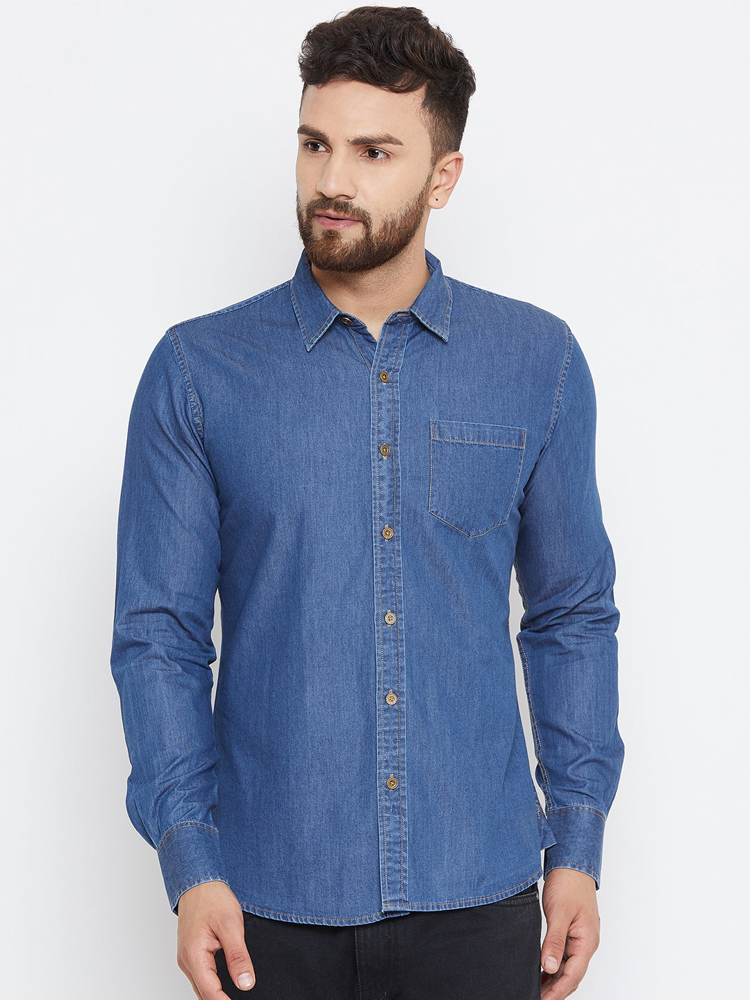 Men Dark Blue Washed Slim Fit Casual Shirt