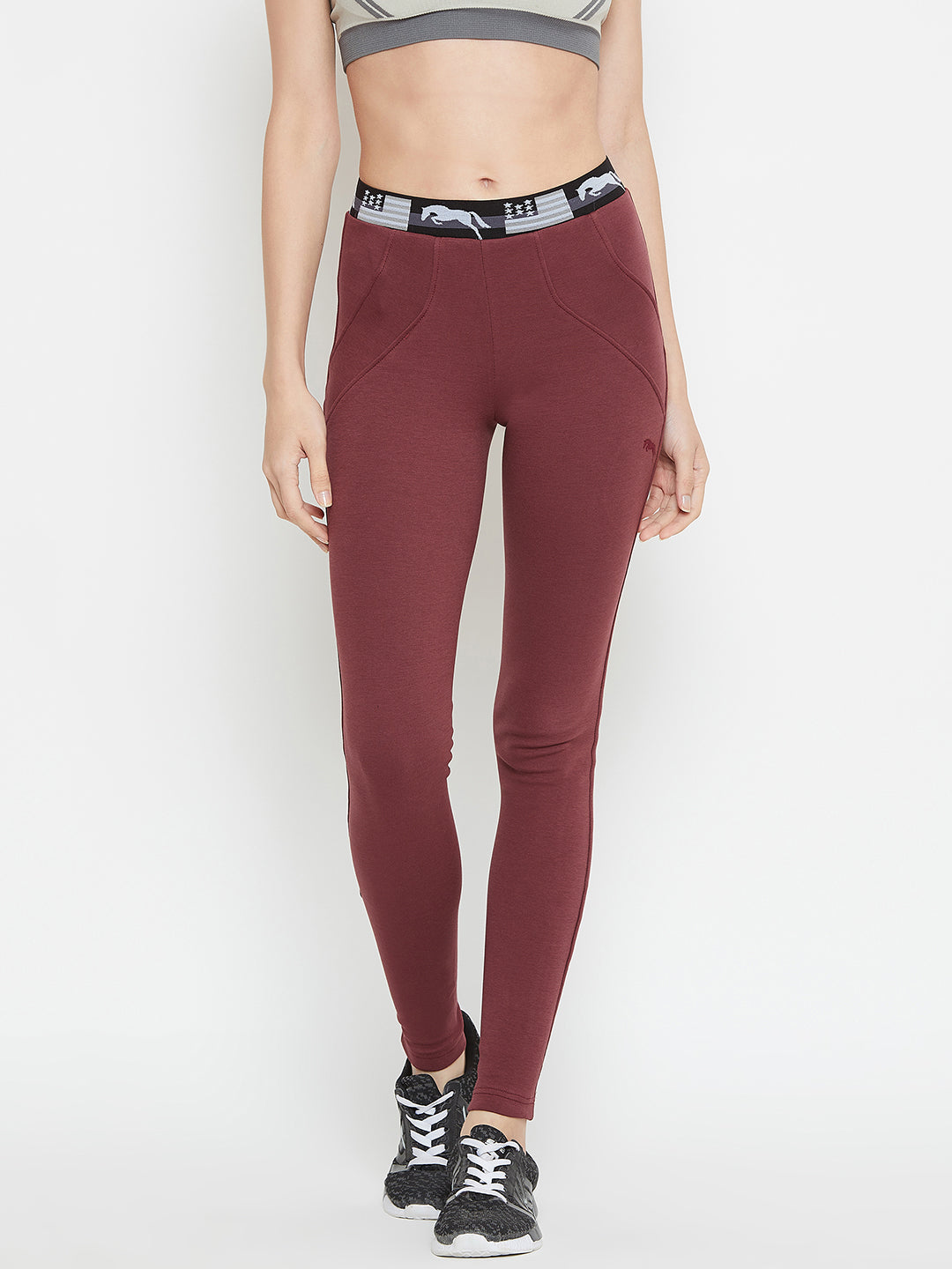 Women Maroon Active Wear Tights - JUMP USA
