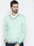 Men Teal Self Design Pullover