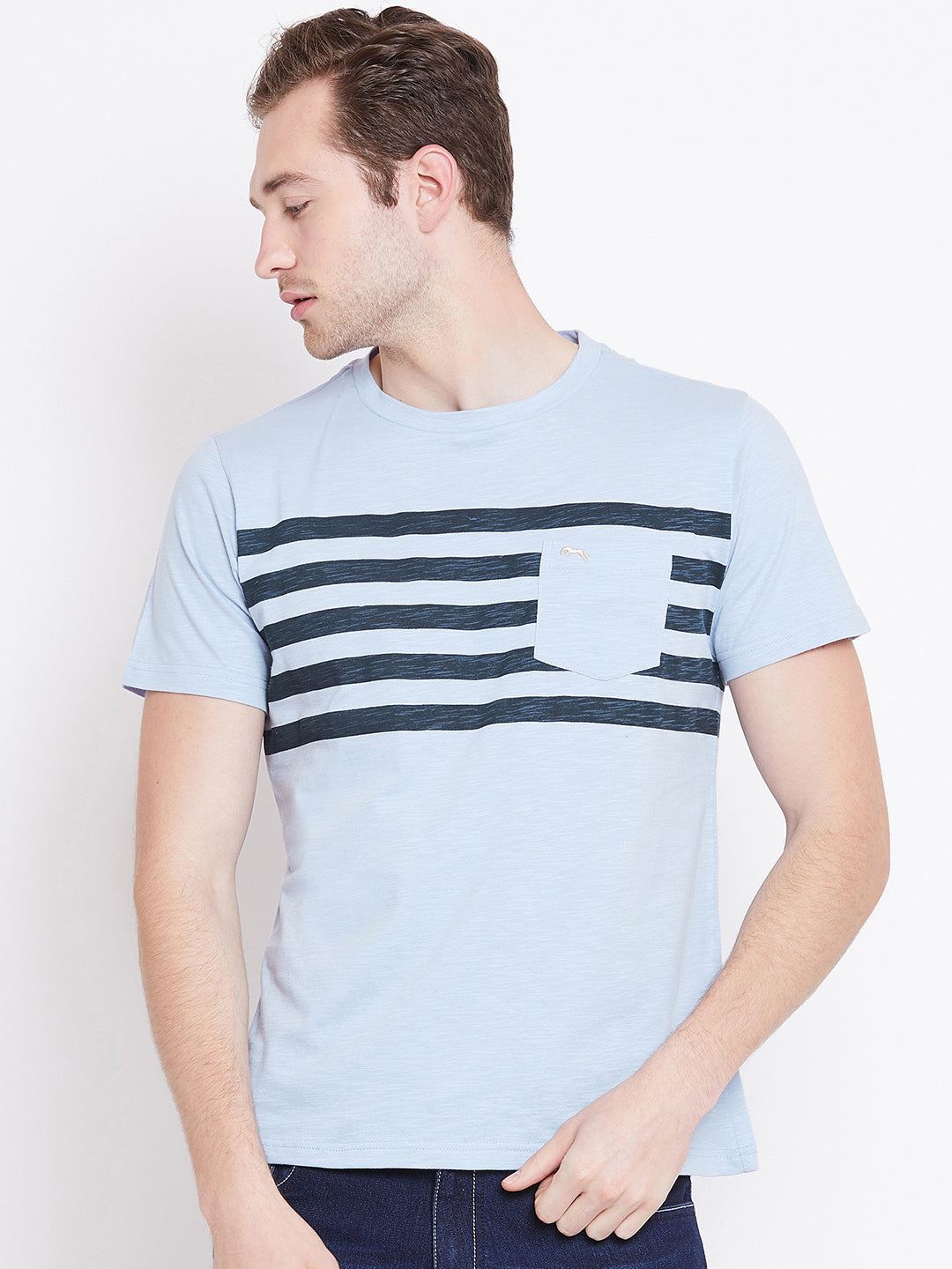 Men Blue Striped Casual T-shirt