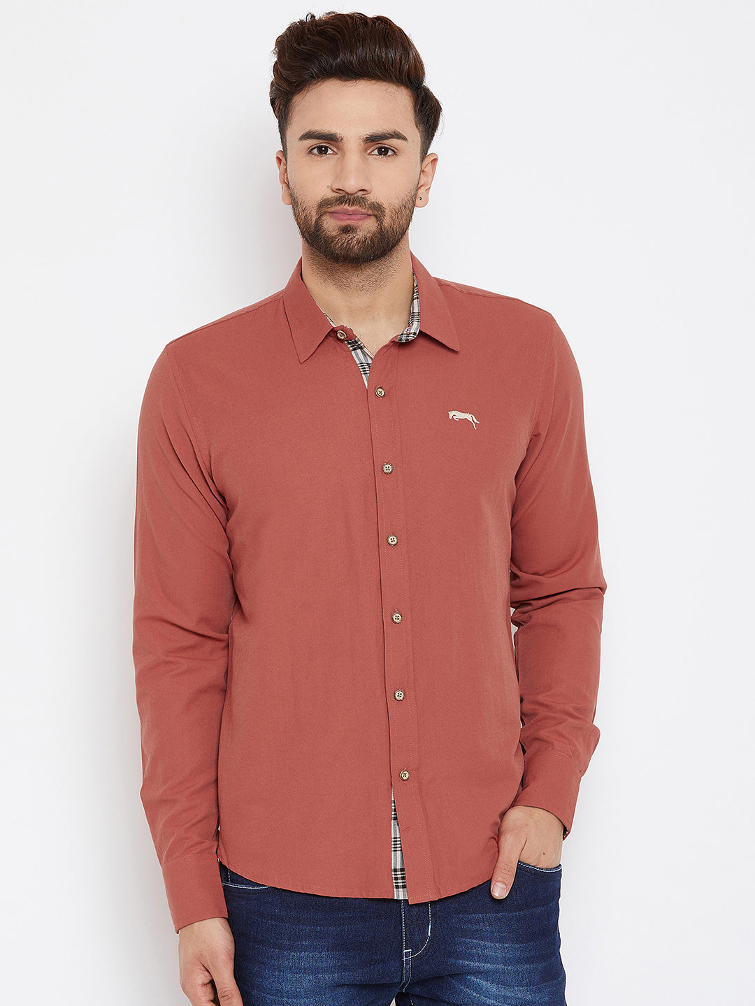 JUMP USA Men Orange Regular Fit Solid Casual Shirt