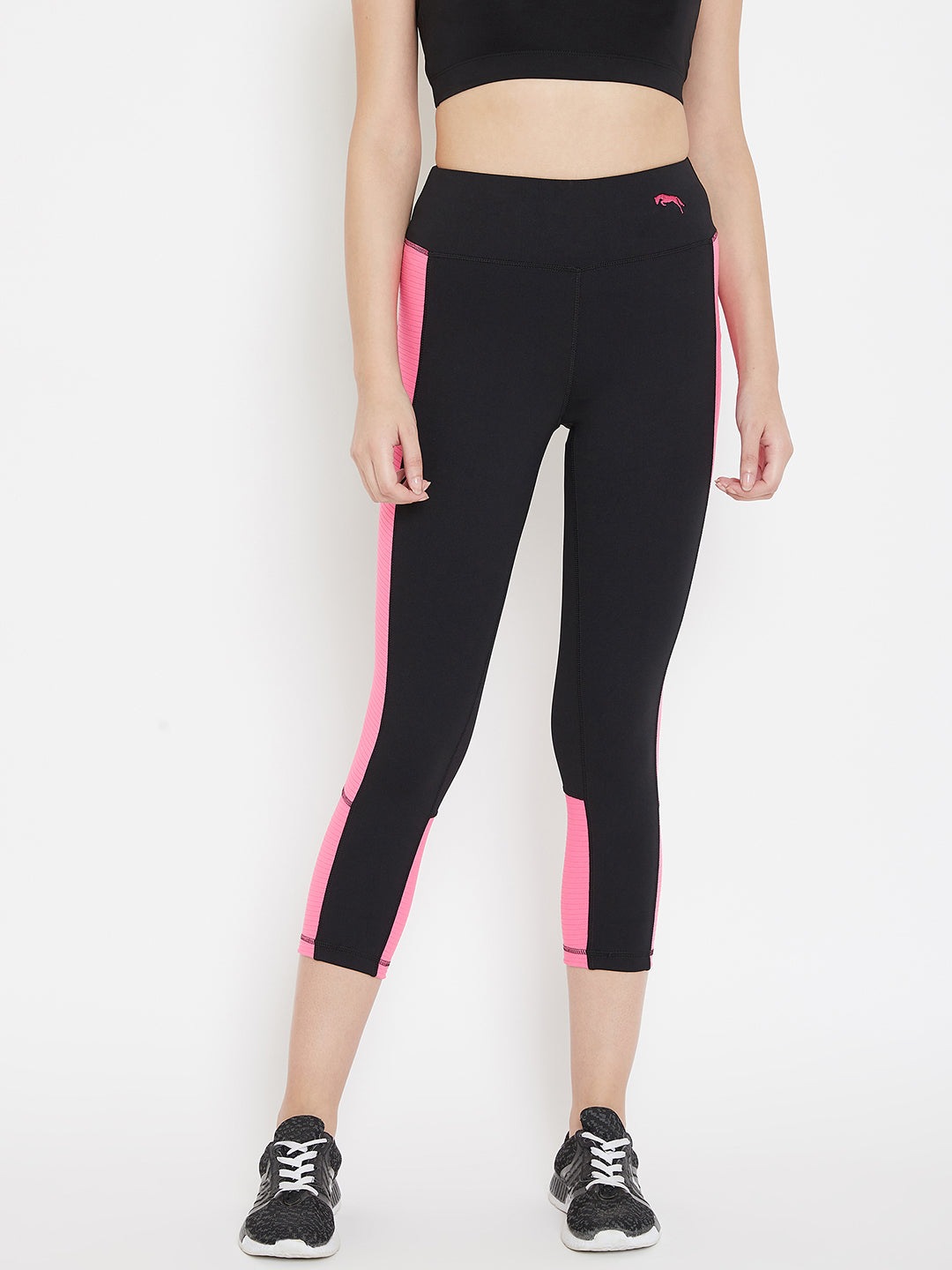 JUMP USA Women Black & Pink Active Wear Tights
