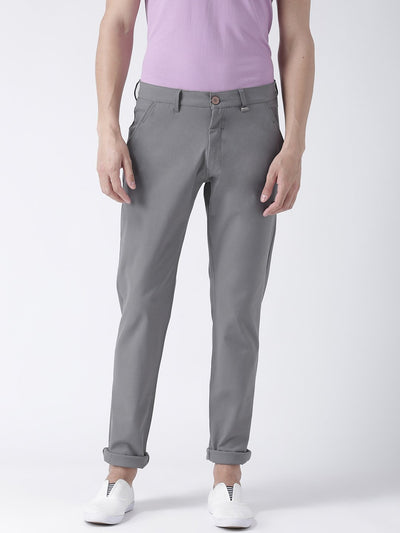 Men Steel Slim Fit Solid Chinos - JUMP USA