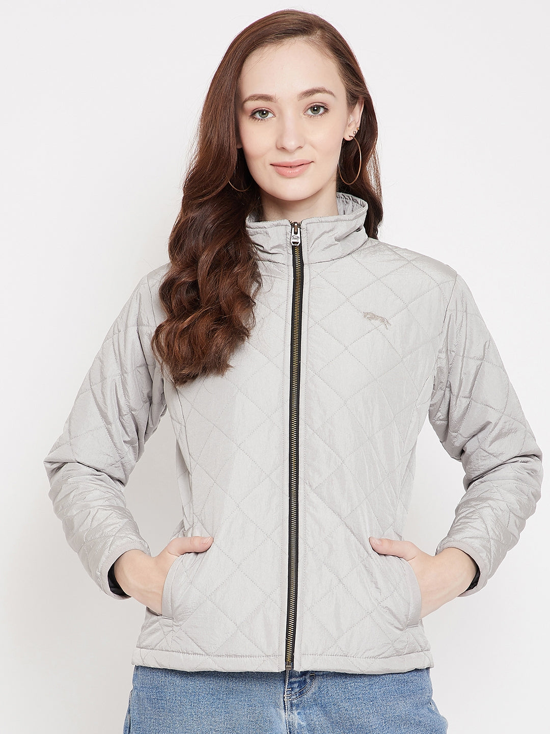 JUMP USA Women Silver Solid Quilted Jacket