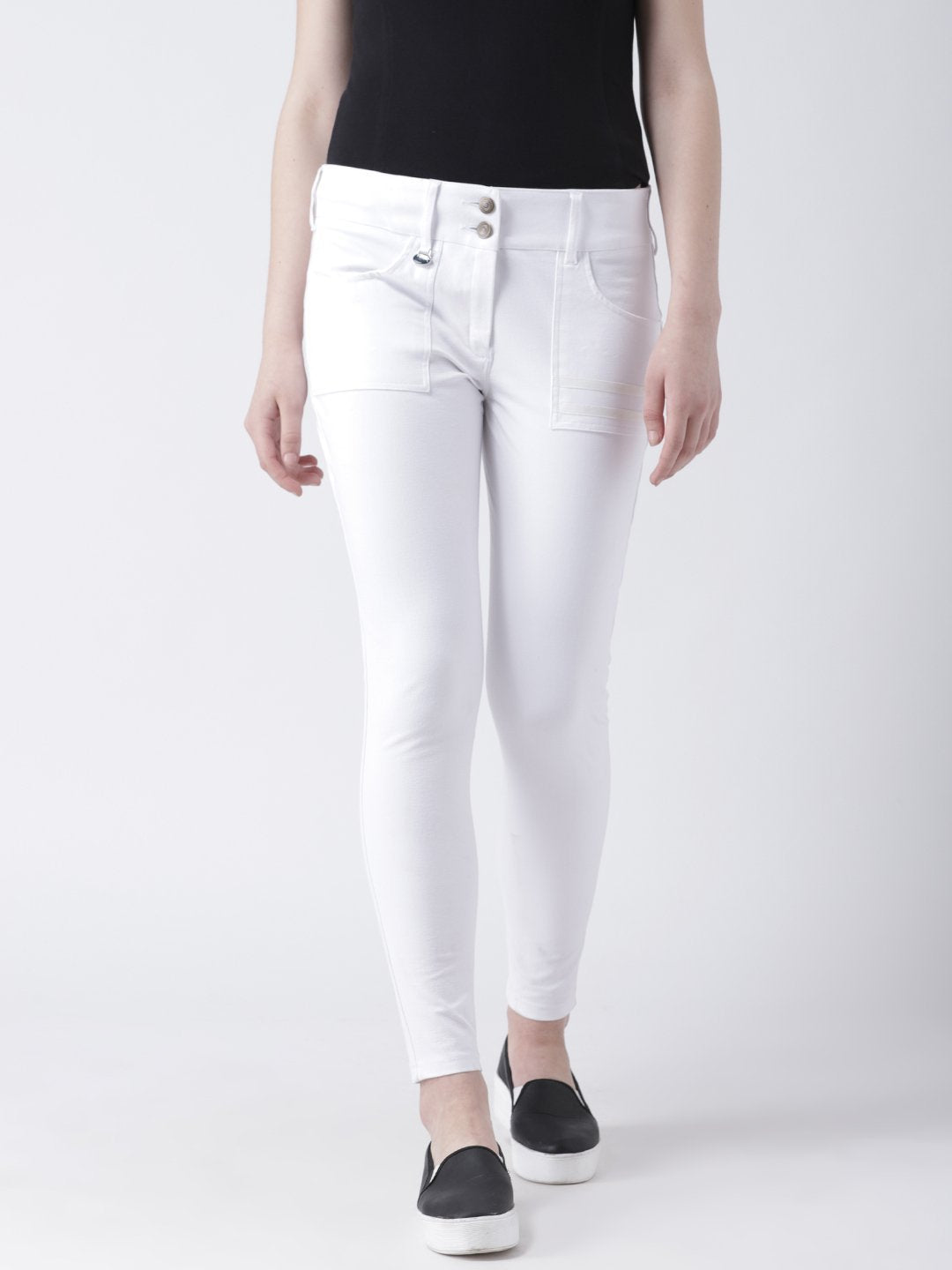 Women White Slim Fit Solid Casual Trousers