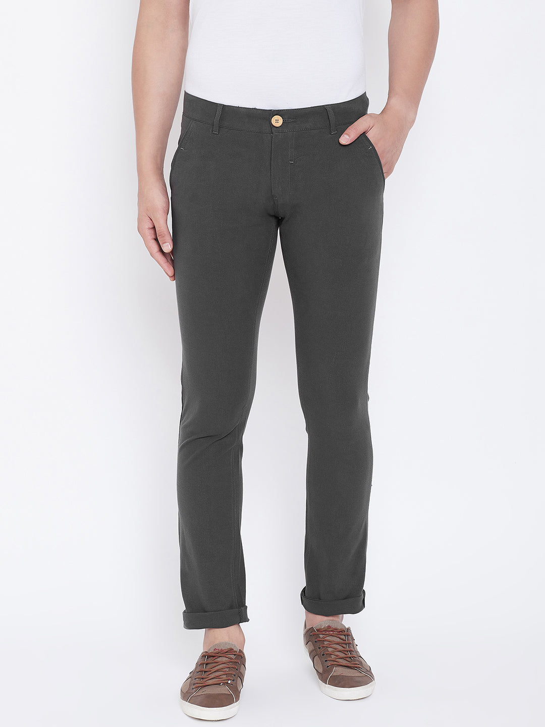 JUMP USA Men Charcoal Casual Slim Fit Solid Chinos