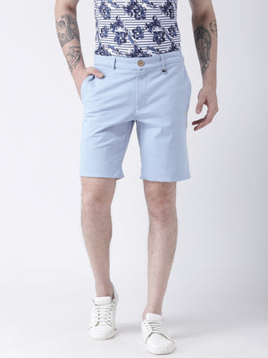 JUMP USA Men Blue Solid Chino Shorts - Jump USA