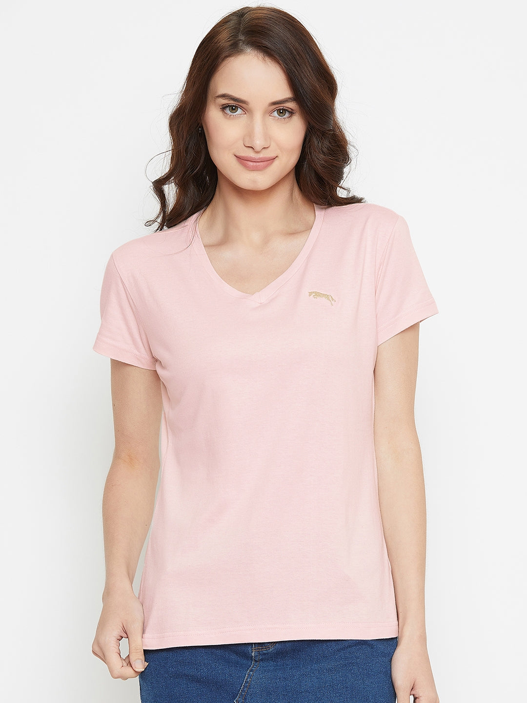 Women Pink Solid Casual V Neck T-shirt