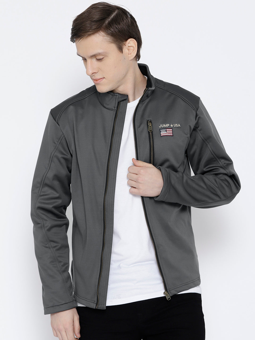 Men Charcoal Solid Jacket