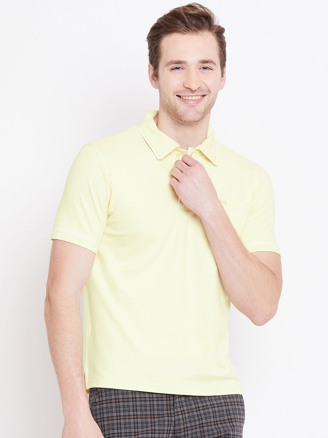 Men Yellow Solid Casual Polo T-shirts