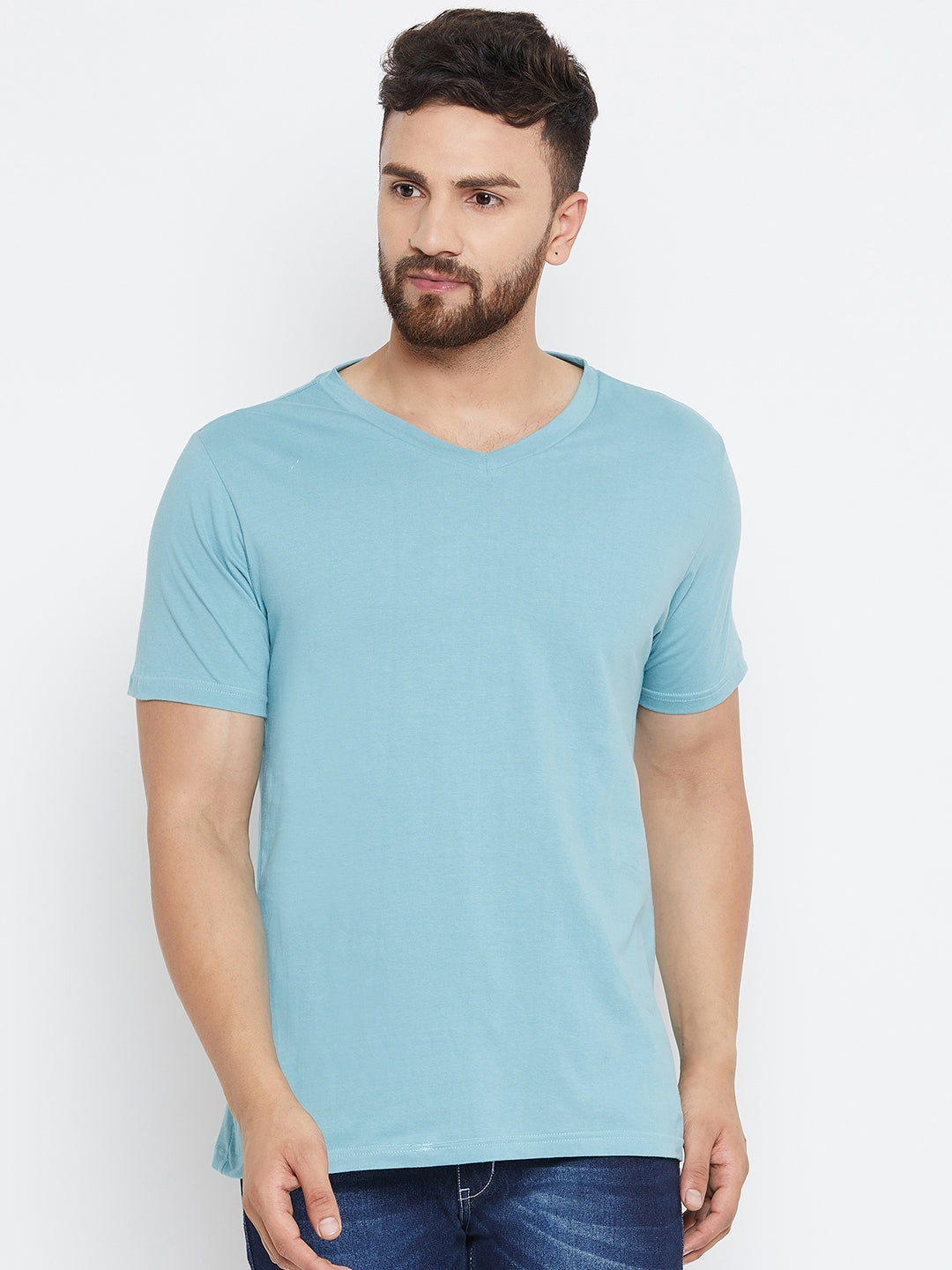 Men Blue Solid V Neck T-shirt