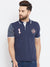 Men Navy Blue Casual Polo Collar T-shirt