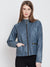Women Casual Blue Leather Jacket