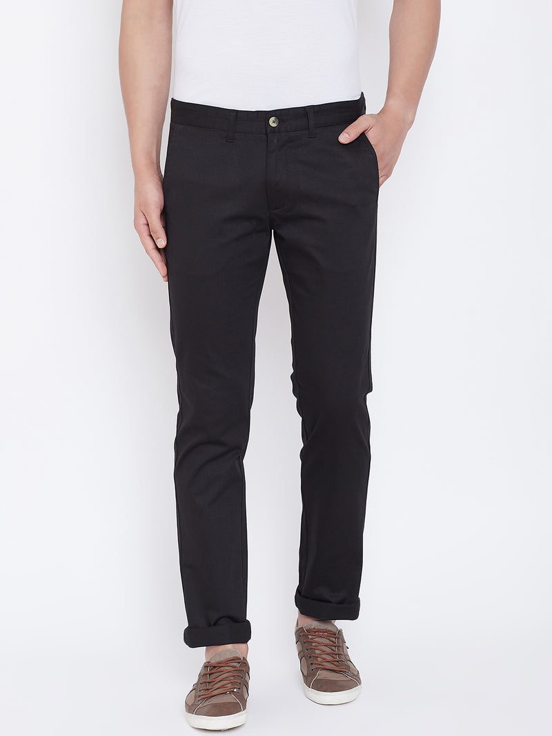 JUMP USA Men Black Regular Fit Solid Trousers - JUMP USA