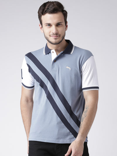Men Casual Solid Blue Polo Collar T-Shirt - JUMP USA