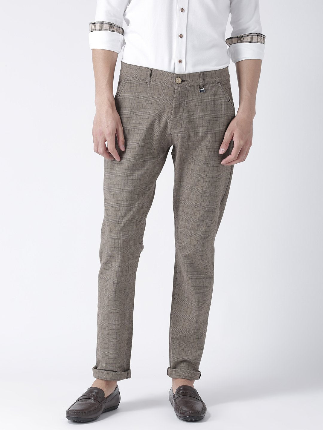 Men Brown Slim Fit Checked Chinos - JUMP USA