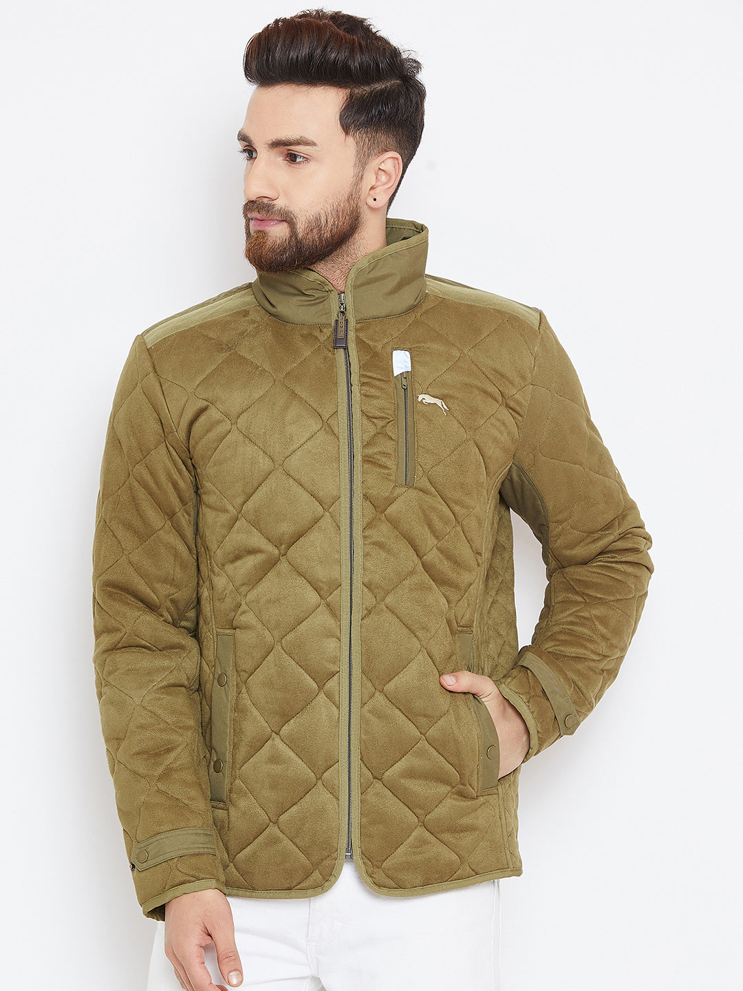 Men Olive Solid Quilted Jacket