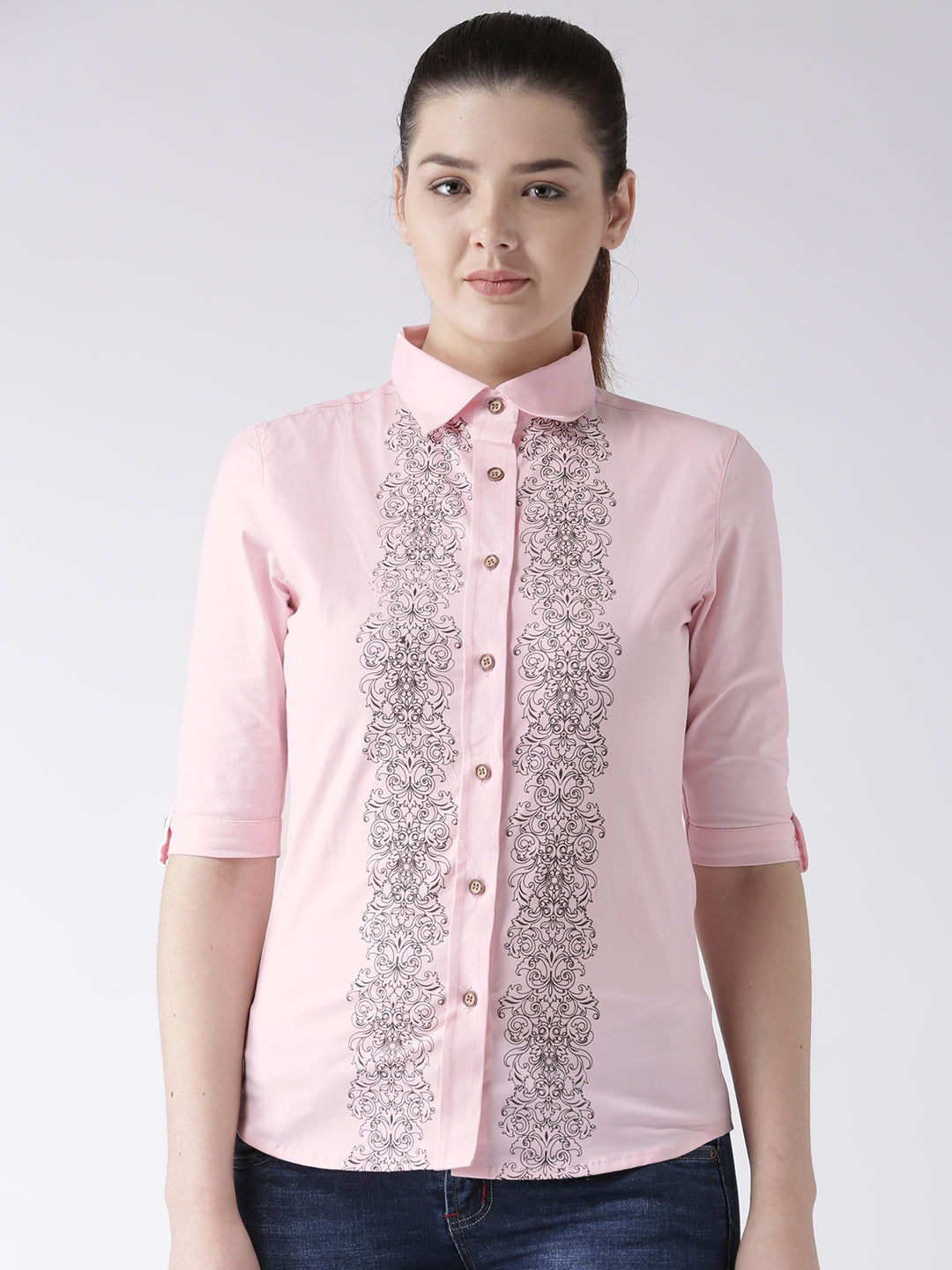 Women Pink Regular Fit Printed Casual Shirt