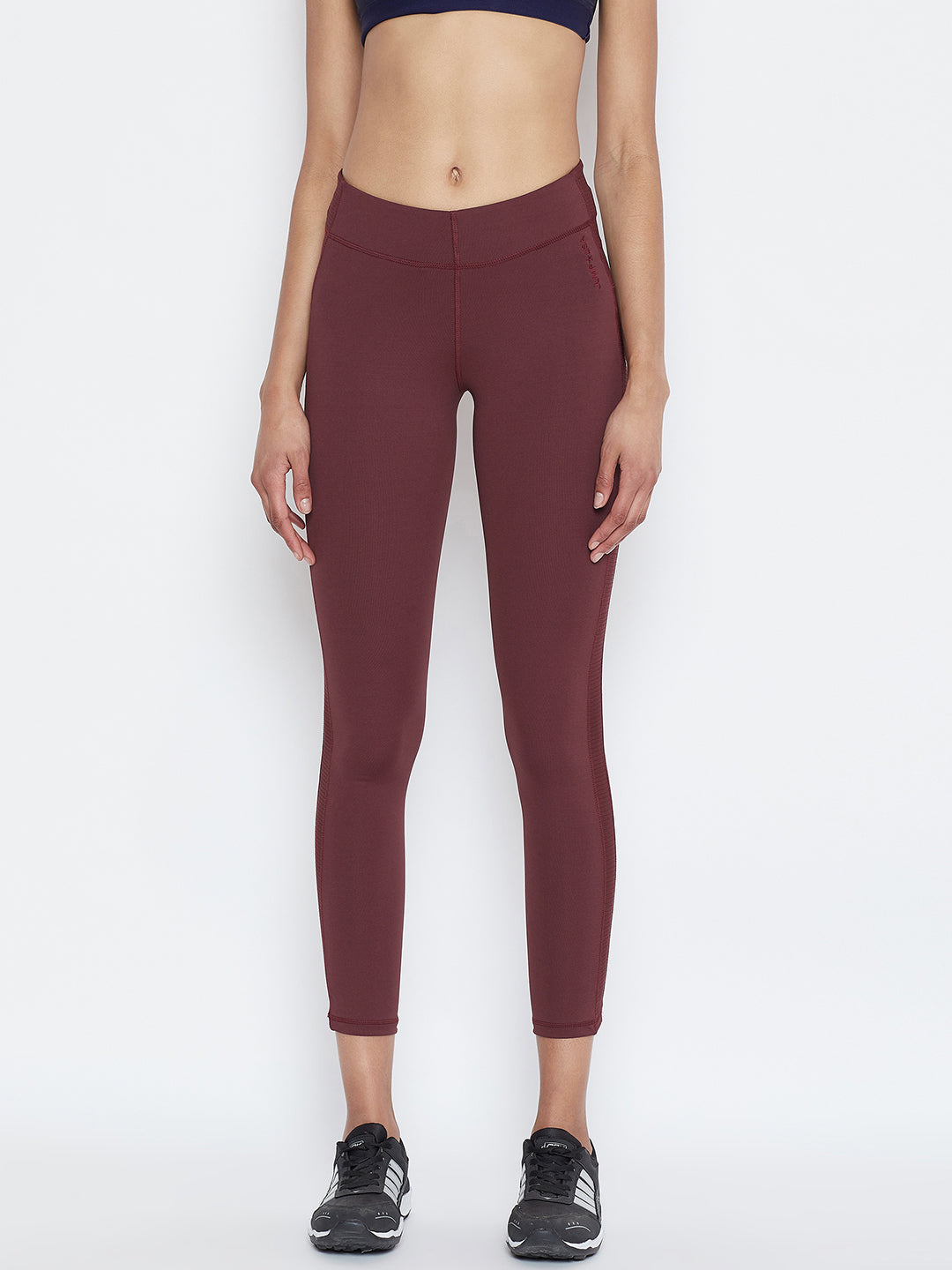 JUMP USA Women Solid Active Wear Maroon Tights - JUMP USA