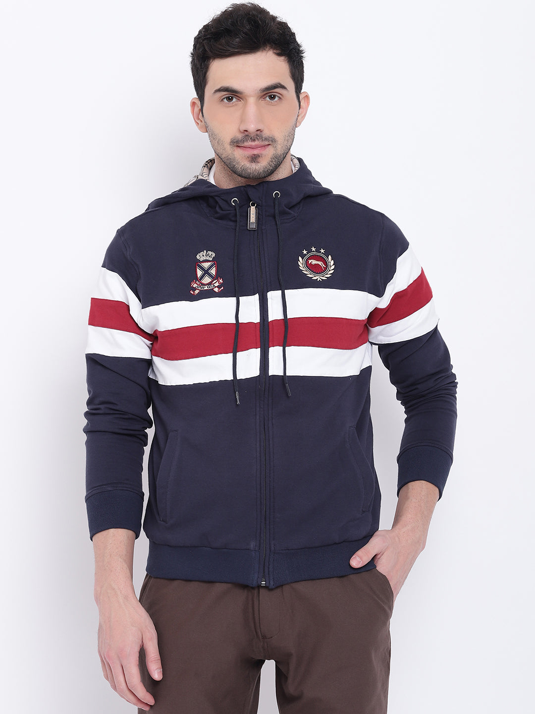 Men Casual Striped Navy Blue Sweatshirt - JUMP USA