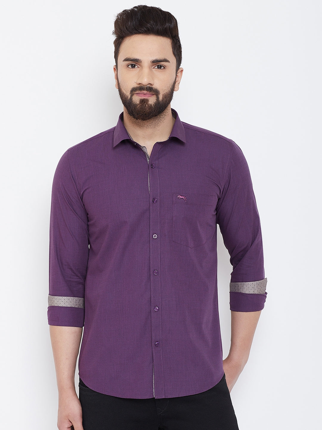 JUMP USA Men Purple Slim Fit Shirts