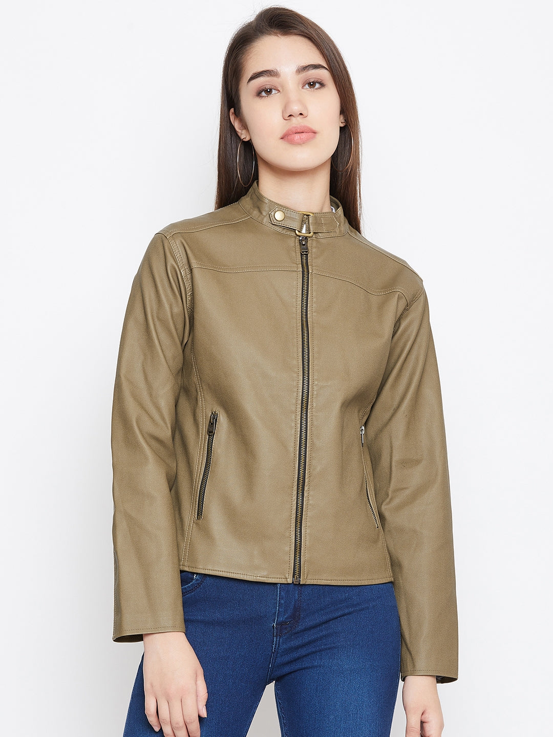 JUMP USA Women Khaki Solid Biker Jacket - JUMP USA
