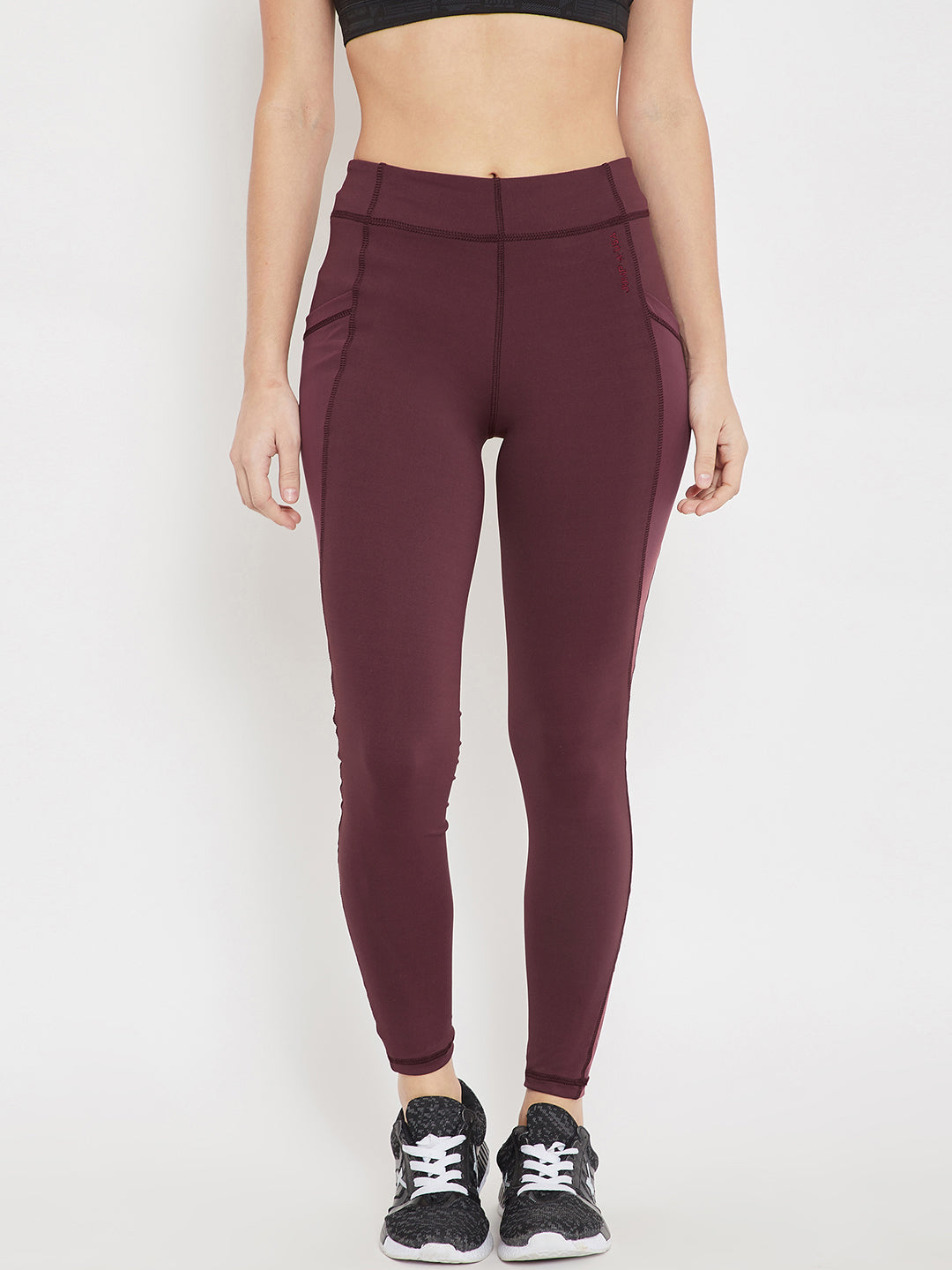 Women Sports Maroon Tights